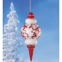 """6.75"""" Alpine Chic Red and White Holly Glittered Finial Christmas Ornament"""