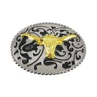 Chrome Enamel Steer Head Western Belt Buckle