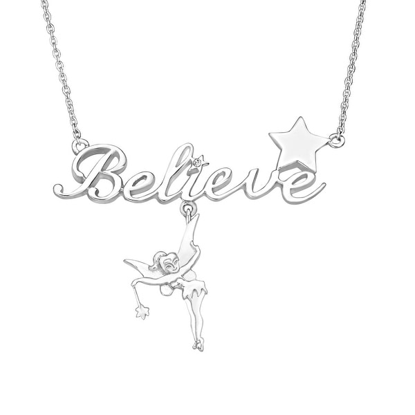 Disney's Tinker Bell 'Believe' Necklace with Crystal in Sterling Silver - White