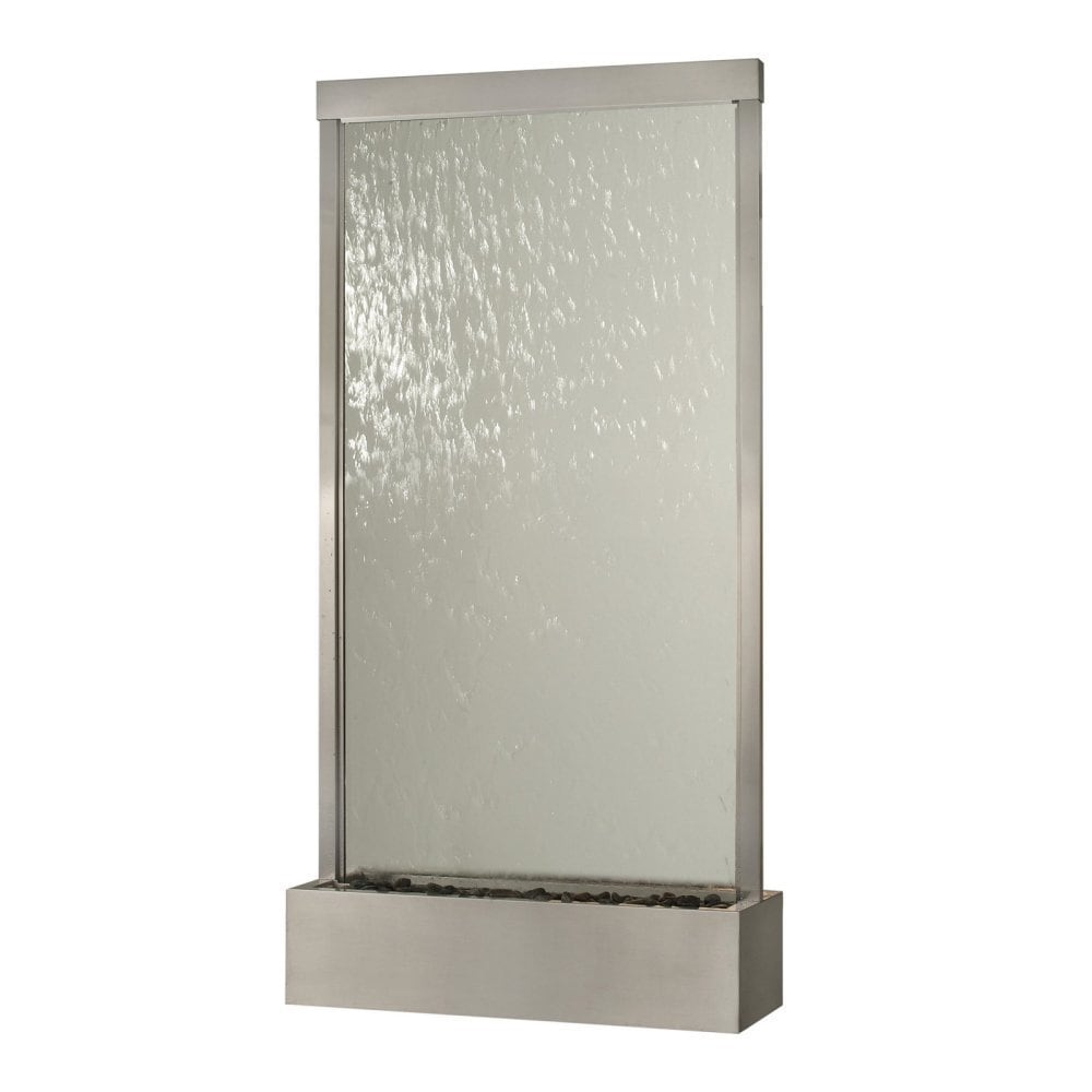 10' Waterfall Grande Floor Fountain, Stainless Steel Frame w/ Clear Glass - Thumbnail 0