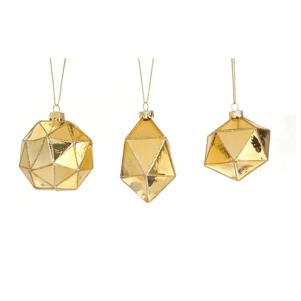 """Club Pack of 24 Gold Geometric Shaped Ball, Drop and Onion Christmas Glass Ornament 4"""""""