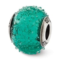 Italian Sterling Silver Reflections Teal Textured  Glass Bead (4mm Diameter Hole)