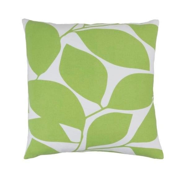 "22""Lavish Leaves Celery Green and Timberwolf Gray Decorative Throw Pillow"