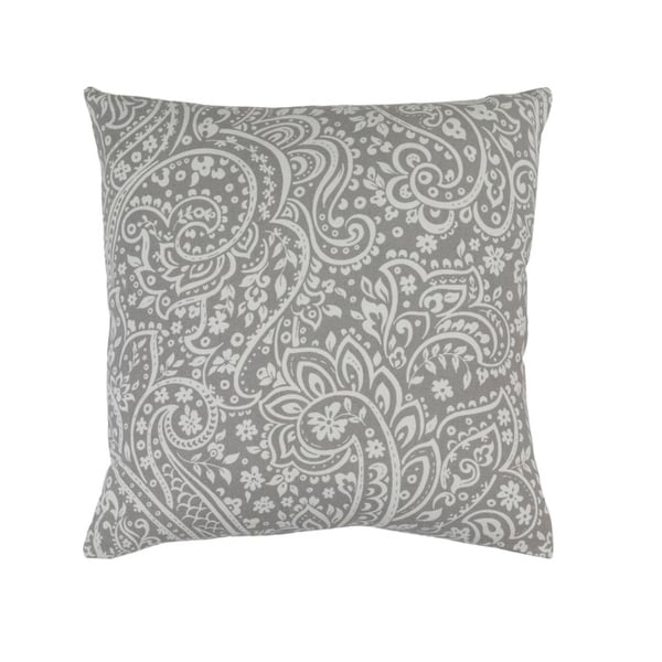 """18""""Hazy Gray and Lily White Paisley Woven Decorative Throw Pillow"""
