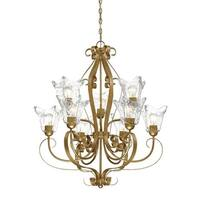 """Millennium Lighting 7429 Chatsworth 9 Light 30"""" Wide 2-Tier Chandelier with Fluted Glass Shades"""