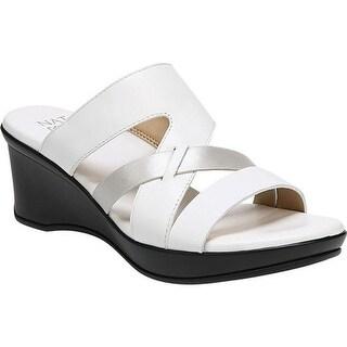 Naturalizer Women's Vivy Slide White Metallic Leather