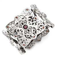 Chisel Stainless Steel Red CZ Stretch Bracelet