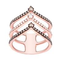 Prism Jewel G-H/SI1 Brown Color Diamond with Diamond 3-Row Chevron Ring - White G-H