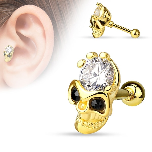 Skull with CZ Forehead and Black CZ Eyes 14Kt. Gold IP over Steel Cartilage/Tragus Barbell (Sold Ind.)