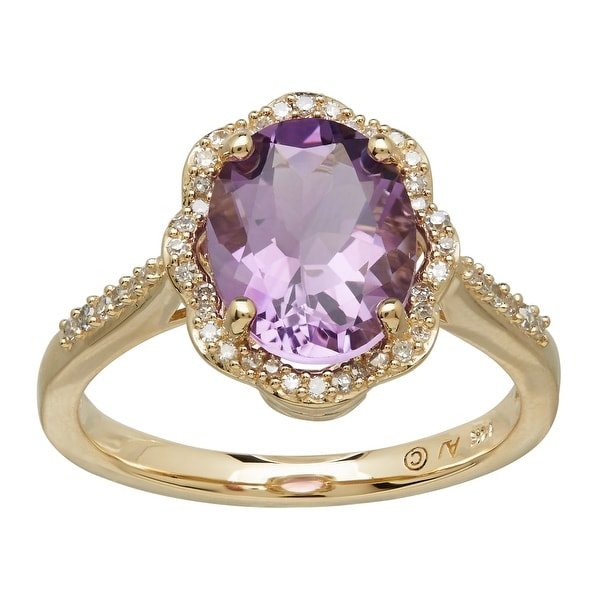 2 3/8 ct Natural Amethyst & 1/6 ct Diamond Scalloped Ring in 14K Gold - Purple