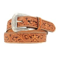 Nocona Western Belt Mens Leather Embossed Cross Rich Earth