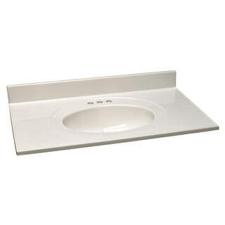 """Design House 551952 43"""" Marble Drop-In Vanity Top with Integrated Sink and 3 Fau - White on White"""