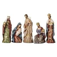 """5-Piece Gold Leaf Christmas Nativity Figures with Papercut Design 8"""""""