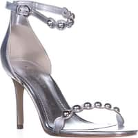 Marc Fisher Belia Ankle-Strap Sandals, Silver - 7 us