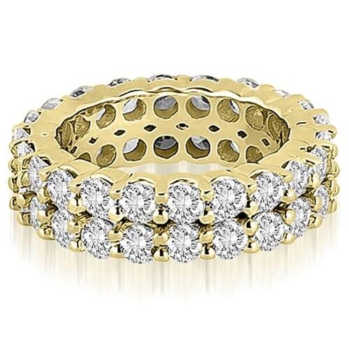 4.40 cttw. 14K Yellow Gold Round Diamond Two Row Eternity Ring