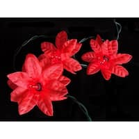Set of 35 Red Poinsettia Holiday Flower Christmas Lights - Green Wire