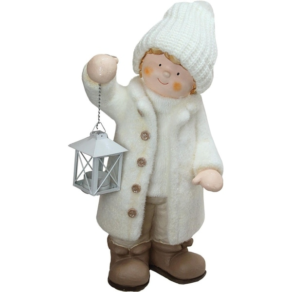 """17.25"""" Winter Boy in White Holding a Tealight Lantern Christmas Table Top Figure"""