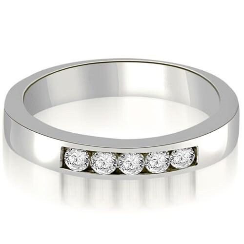0.25 cttw. 14K White Gold Round Diamond 5-Stone Channel Wedding Band
