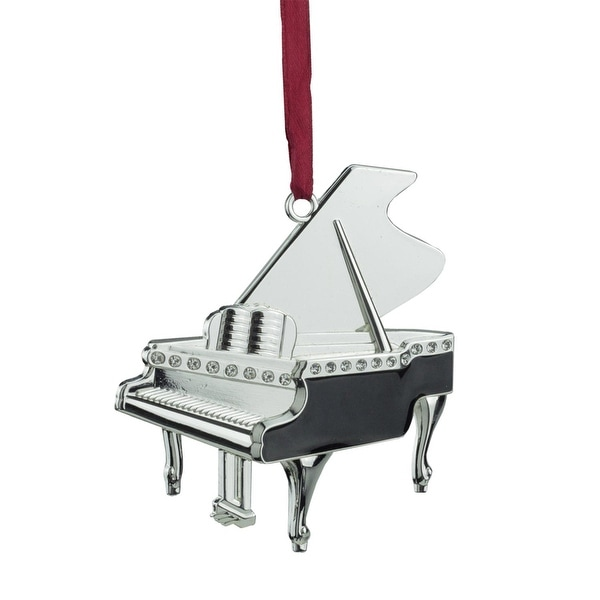 """3"""" Regal Shiny Silver-Plated and Black Grand Piano Ornament with European Crystals"""