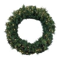 "36"" Pre-Lit Green Cedar Pine Artificial Christmas Wreath - Clear Lights"