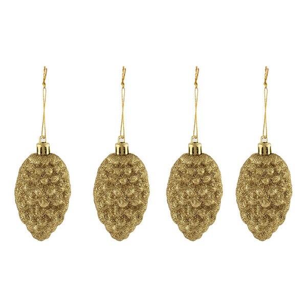 4pcs Christmas Tree Plastic Tinsel Echinaceas Hanging Decoration Yellow