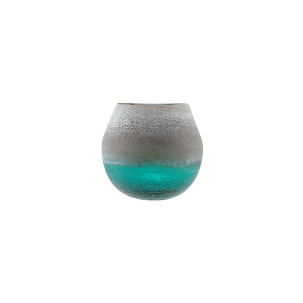 "6"" Teal Blue Crackled and Brown Frosted Hand Blown Decorative Glass Vase"