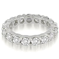 Classic 4.80 cttw 14K White Gold Round Cut Share-Prong Diamond Eternity Ring HI,SI1-2