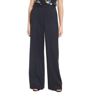 Lewit Navy Blue Womens Size 14 Stretch Wide-Leg Trouser Pants