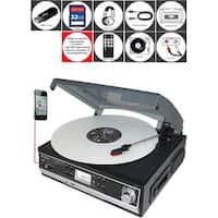 Boytone BT-16DJB-C 3-speed Stereo Turntable with 2 Built in Speakers Digital LCD Display + Supports USB/SD/AUX+ Cassette/MP3