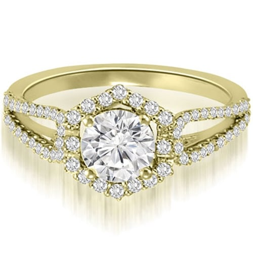 0.85 cttw. 14K Yellow Gold Halo Round Cut Diamond Split-Shank Engagement Ring