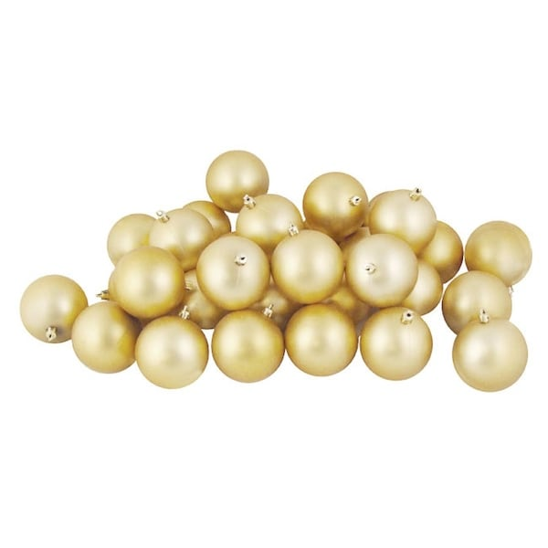 """60ct Matte Champagne Gold Shatterproof Christmas Ball Ornaments 2.5"""" (60mm)"""
