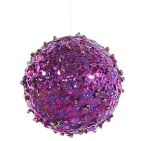 "Purple Sparkle Kissing Christmas Ball Ornament 4"" (100mm)"