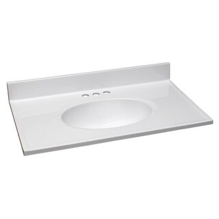 """Design House 552018 31"""" Marble Drop-In Vanity Top with Integrated Sink and 3 Fau - Solid White"""
