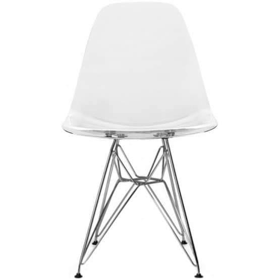 2xhome Modern Eames Side Dining Chair Clear With Wire Chrome Leg Base