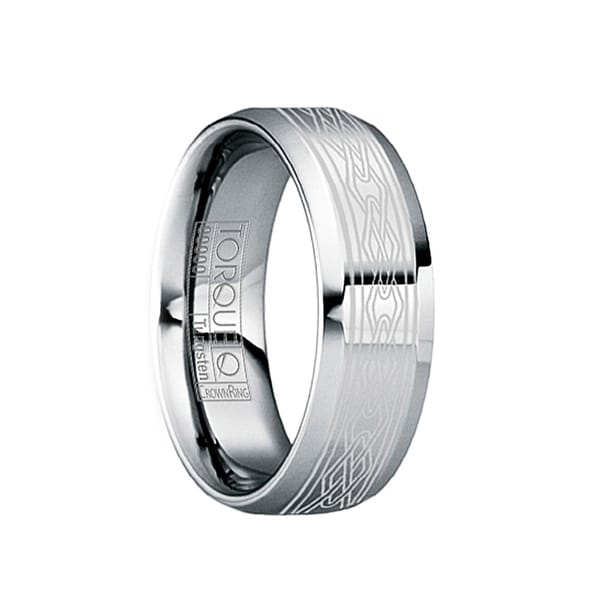 MAXENTIUS Beveled & Polished Tungsten Wedding Band with Engraved White Celtic Motif by Crown Ring - 6mm