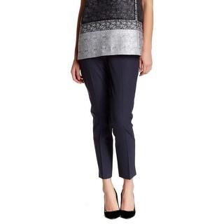 Lafayette 148 Navy Blue Womens Size 12 Stretch Cropped Wool Pants