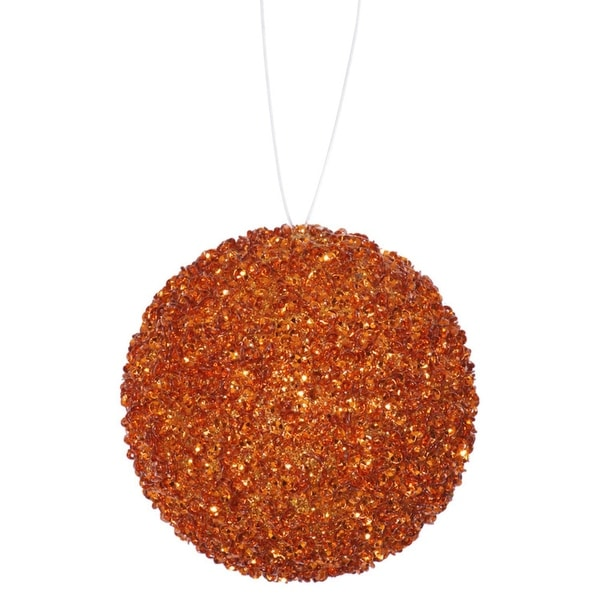 """4ct Orange Sequin and Glitter Drenched Christmas Ball Ornaments 4"""" (100mm)"""