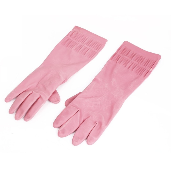 Unique Bargains 37cm x 13cm Rubber Household Kitchen Cleaning Dish Washing Gloves Pink Pair