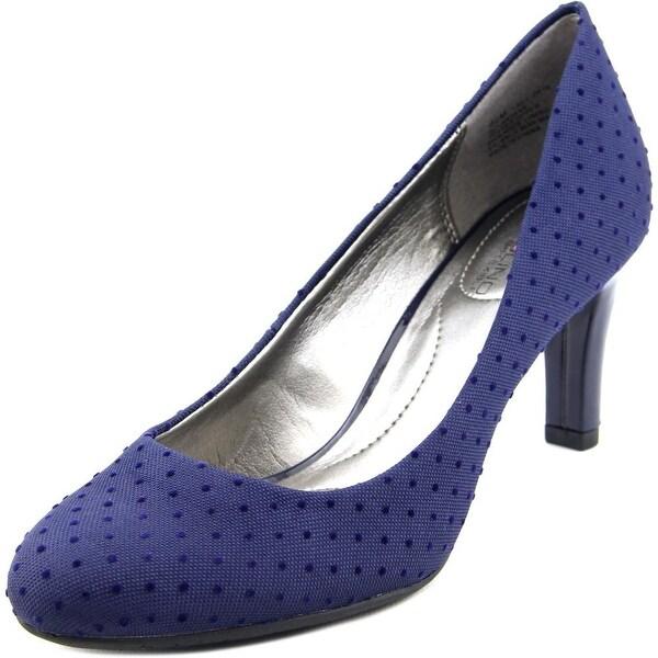 Bandolino Lantana Women Round Toe Canvas Blue Heels