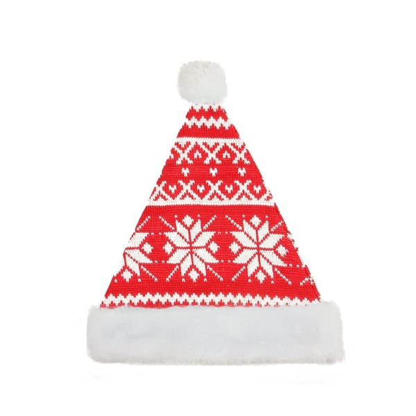 """14"""" Alpine Chic Red and White Knitted Snowflake White Brim Christmas Santa Hat - Medium Adult Size"""