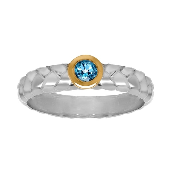 1/3 ct Swiss Blue Topaz Ring in Sterling Silver and 10K Gold