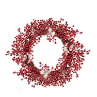 """18"""" Decorative Artificial Red Berry Christmas Wreath with Frosted Accents - Unlit"""