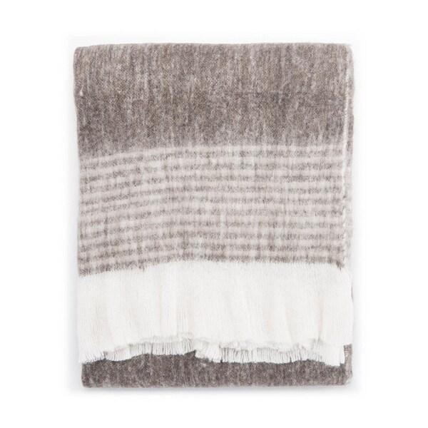 "Ivory/Gray Wool, Acrylic & Polyester Throw - HAM01 50""x60"""