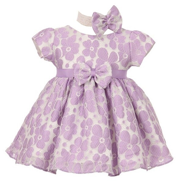 Good Girl Baby Girls Lilac Lace Stud Belt Flared Flower Girl Dress