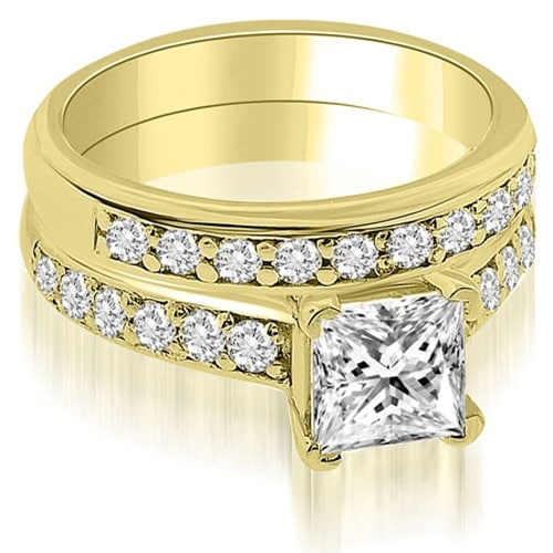 1.15 cttw. 14K Yellow Gold Cathedral Princess Cut Diamond Bridal Set
