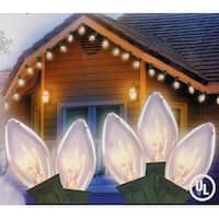 Set of 25 Transparent Clear C9 Christmas Lights - Green Wire