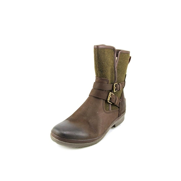 Ugg Australia Simmens Women Round Toe Leather Brown Ankle Boot