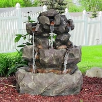 Sunnydaze Layered Rock Waterfall Outdoor Fountain with LED Lights - 32 Inch Tall