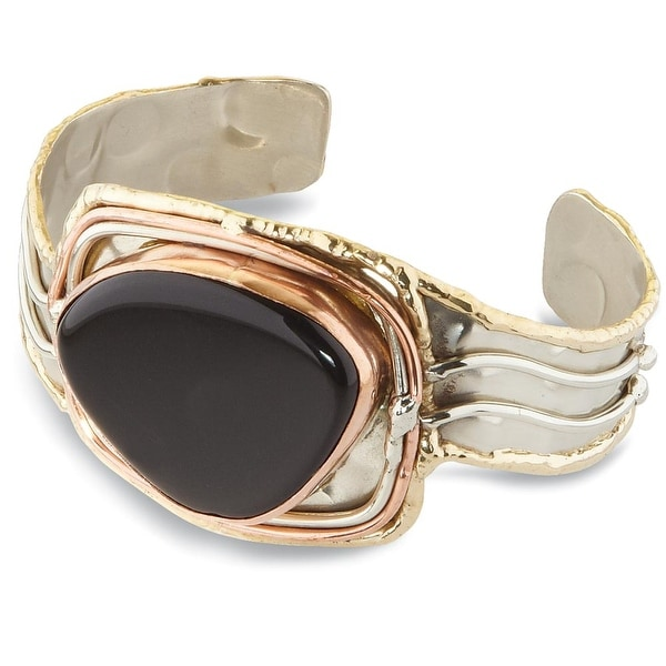 "Women's Onyx Mixed Metal Silver, Brass and Copper Cuff Bracelet - 1 1/2"" Wide"