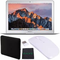 """Apple 13.3"""" MacBook Air 128GB SSD #MQD32LL/A + Padded Case For Macbook + Fibercloth + Optical Wireless Mouse Bundle"""